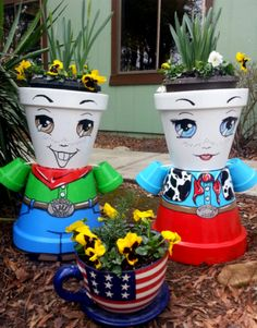 Clay pots, Garden Art. Made these from clay pots. Adds charm to the early garden