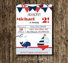 Nautical invitation - boy nautical invite - red blue nautical - nautical baby shower - nautical birthday - boy nautical party