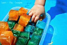 Sensory Tubs for Toddlers Baby Sensory Play with Ice Last summer we enjoyed a variety of sensory fun in our play pool including using water beads , mixi… Young Toddler Activities, Sensory Activities Toddlers, Kids Learning Activities, Toddler Fun, Infant Activities, Summer Activities, Sensory Games, Baby Sensory Play, Sensory Tubs