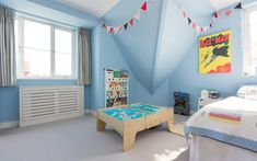 Broadgates Road Residence by Granit Chartered Architects Boys Bedroom Paint, Blue Bedroom, Mario Room, Red Space, Big Boy Bedrooms, Maximize Space, Boy Room, Home Projects, Living Room Designs