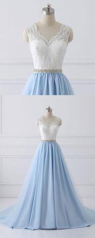 Sky Blue Long V Neck Evening Dress with Beaded Belt,Lace Top Long Prom Dress OK980 #blue #aline #long #vneck #beaded #lace #prom #okdresses