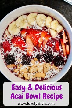 Easy Acai Bowl: easy and tasty! used c almond milk, added ice to thicken, topped w/berries, homemade granola, cocoa nibs. Note: had to run the acai packet for secs. Acai Bowl Recipes Healthy, Smoothie Recipes, Recipes For Acai Bowls, Acai Smoothie Bowl Recipe, Vitamix Recipes, Healthy Eats, Healthy Foods, What Is Acai Bowl, Acia Bowl
