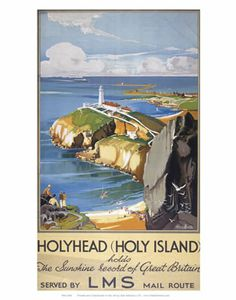 HolyHead record of great britain - Holy Island LMS poster Art Print National Railway Museum, Travel Ads, Railway Posters, Vintage Art Prints, Vintage Travel Posters, Cool Posters, Giclee Print, Wall Art, Island