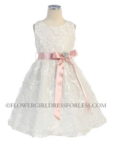 White flower girl dress with silk organza overlay and frill ...