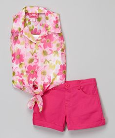 Another great find on #zulily! Girls Luv Pink Fuchsia Floral Button-Up & Shorts - Girls by Girls Luv Pink #zulilyfinds