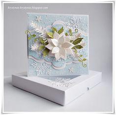 card christmas poinsettia pine branch Marianne design leaves holiday greens  border snowflakes Krystynas i jej papierowy świat