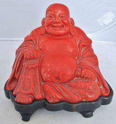 "6.1"" Antique Chinese Red Cinnabar Hotei Buddha Statue on Custom Wood Stand"