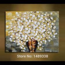 Hand painted modern home decor living room hall wall art picture directly from china wall art picture suppliers wall art pictures for living room home decoration printed on canvas knife oil paintings white flowers mightylinksfo