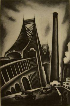 'Queensboro Bridge, NY' (1930) by Howard Cook. Etching & aquatint.