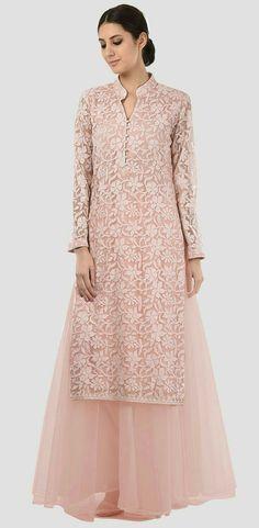 Eid 2017 Collection: Oyster Pink Hand Embroidered Chikankari And Sequin Kurta With Skirt Salwar Designs, Kurti Neck Designs, Kurta Designs Women, Designer Dress For Men, Indian Designer Suits, Designer Dresses, Indian Fashion Dresses, Fashion Outfits, Dress Neck Designs
