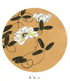 伊藤若冲『鉄線(clematis)』木版画 This is woodblock print by Jactyu Ito.Jactyu is