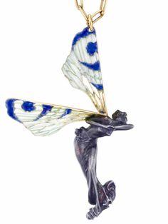 René Lalique Art Nouveau Pendant: Silver/ Enamel/ Gold, c1900 | Christie's Bijoux Art Nouveau, Art Nouveau Jewelry, Jewelry Art, Jewelry Design, Lalique Jewelry, Elves And Fairies, Black Diamonds, Ancient Jewelry, Fantasy Jewelry
