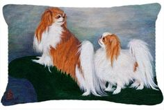 Japanese Chin Standing on my tail Fabric Decorative Pillow MH1059PW1216, Multi