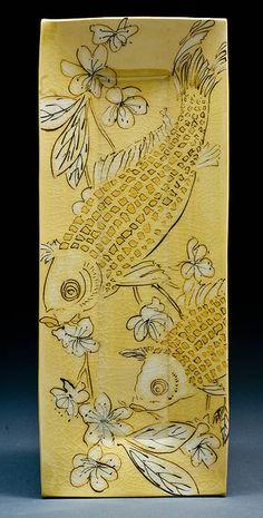 Karen Burk | Rectangular Platter, with fish and cherry blossoms on yellow.