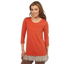 LOGO by Lori Goldstein 3/4 Sleeve Tee with Lace Hem