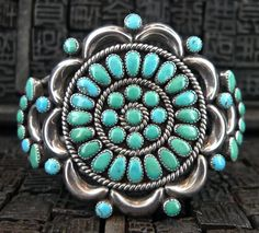"""""""Old Pawn"""" Turquoise & silver cuff"""
