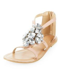 Pink Leather Jewel Front Sandals $53.56 USD