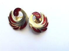 Red Enamel Swan Earrings Vintage Designer by CrimsonVintique #vogueteam