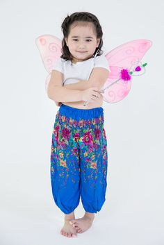 Floral Kids Harem Pants in Ocean Blue Harem -10% Discount, Use Code: sghs. #thaiharempants #harempants