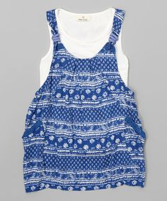 Blue Floral Tunic - Girls