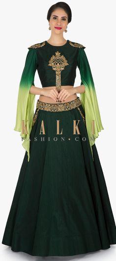 Bottle green lehenga in raw silk adorn in zardosi and sequin embroidery work only on Kalki