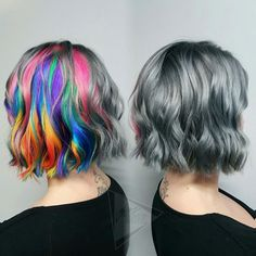 Half rainbow hair and half silver hair Feathered Hairstyles, Pretty Hairstyles, Punk, Platinum Hair Color, Split Dyed Hair, Bright Hair, Mermaid Hair, Crazy Hair, Rainbow Hair