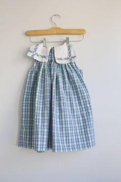 Vintage girls green and blue plaid summer by littlewatterscloset