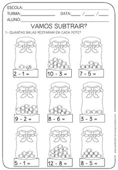Atividade pronta - Subtração Kindergarten Addition Worksheets, 1st Grade Worksheets, 1st Grade Math, Preschool Worksheets, Math Activities, Math For Kids, Fun Math, Math Drills, Spanish Teaching Resources