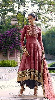 Adorable Reddish Khadi Asymmetrical Kameez With Cigarette Pant