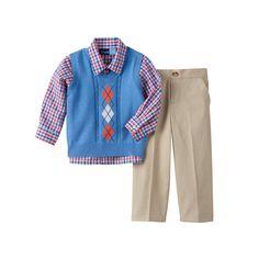 Toddler Boy Great Guy Cable Knit Argyle Sweater Vest, Plaid Shirt & Pants Set, Size: 4T, Med Blue
