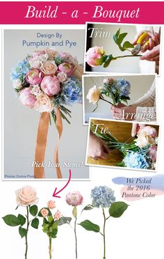 Learn how to make a beautiful bouquet with this DIY by Pumpkin and Pye! She used silk flowers in the Pantone color of the year - so pretty! #silkflowers