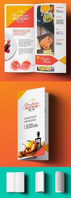 Free Bi-Fold Brochure Mockup #freepsdfiles #freepsdgraphics #freepsdmockup #freebies