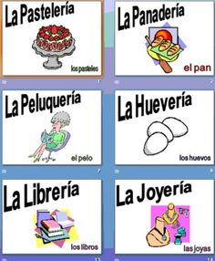 Spanish City Class Signs & PowerPoint - This presentation contains 36 colorful slides with Spanish shop names ending in -ería, and a noun that you could find in the shop.