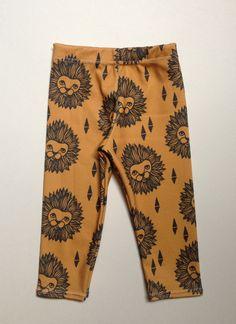 Lion head organic cotton leggings, modern leggings, baby leggings