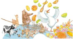 I chose this illustration because I like the drawing of the flying fruit and happy animals. Davis S. Retrieved from Happy Animals, Online Images, Dinosaur Stuffed Animal, Illustrations, Fruit, Drawings, Design, Illustration, Draw