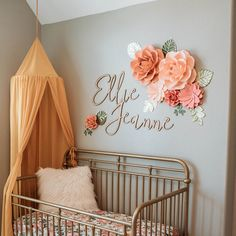 Paper Flowers Wall Decor, Paper Flowers for Girls Room, Floral Nursery, Blush Pink paper flowers with rose gold leaves, rose gold nursery Peach Nursery, Flower Nursery, Light Green Nursery, Green Nursery Girl, Baby Girl Room Decor, Girl Nursery Colors, Navy Girl Nursery, Baby Girl Bedroom Ideas, Girls Room Wall Decor
