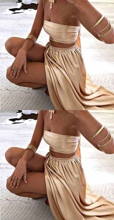 Two Piece Strapless Split Side Long Prom Dresses Music Festival Outfits, Festival Fashion, Halloween Outfits, Halloween Costumes, Greek Goddess Halloween Costume, Greek Godess Costume, Mode Outfits, Fashion Outfits, Festival Looks