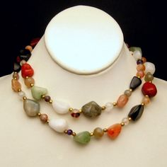 Mid Century Polished Agate Stones Vintage Necklace Great Multi Colors Long Length #MyClassicJewelry