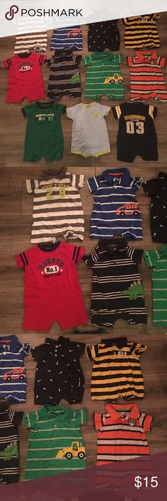 Carter's Onesie Outfit Bundle- Size 6 Month Carter's Onesies Outfit Bundle- Size 6 Months: 11 outfits total- all are stain free with no tears. They come from a smoke free home. Carter's One Pieces