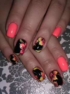 Elegant and Cute Acrylic Nail Designs, unique ideas for you to try in special day or event. Hawaiian Nails, Nail Art Fleur, Diy Nail Designs, Tropical Nail Designs, Fingernail Designs, Pedicure Designs, Vacation Nails, Flower Nail Art, Pretty Nail Art