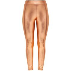 Rose Gold Metallic Disco Leggings ($18) ❤ liked on Polyvore featuring pants, leggings, stretch pants, high-waisted disco pants, high waisted disco pants, stretch leggings and high waisted leggings