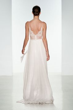Tinsley by Christos Bridal. Silk chiffon wedding gown with sheer lace panel bodice.