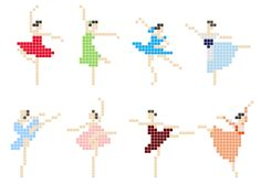 Gorgeous free itty bitty cross-stitch ballerinas