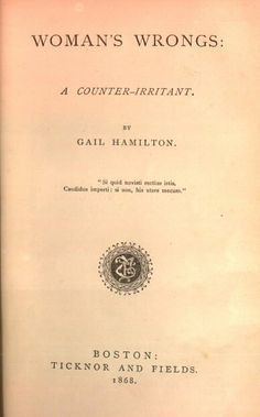 (photo: merrycoz.org) 1868-1872 Gail Hamilton (Mary Abby Dodge) an accomplished female writer, journalist, and essayist. She published books on women's rights and sued her publisher for underpaying her compared to the norm of the industry, but lost (Smith).