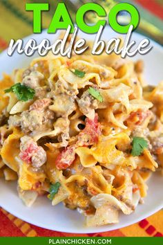 Taco Noodle Bake - SO good!!! Egg noodles, taco meat, cheese, diced tomatoes and green chiles, cheddar cheese soup, and sour cream. Everyone cleaned their plate and asked for seconds! Makes a great freezer meal too!! LOVE this easy Mexican casserole!!! #taco #mexican #pasta #casserole #freezermeal