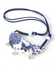 Braided Half-moon Porcelain Pendant Necklace