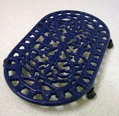 Vintage French Style Blue Cast Iron Trivet / Pot Stand Kitchenalia Ref: 1043 Cast Iron, It Cast, French Style, French Vintage, Blue, Ebay