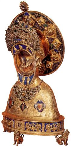 """Reliquary of the Jaw of St. Anthony, 1349  I love this piece. What's even better, besides it just having a sick jaw encased in gold, is that St. Anthony was known for the speeches and sermons he gave. Ever heard the expression """"silver-tongued preacher""""? This is who the phrase originated from."""