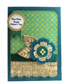 Step Mom  Happy Mother's Day Card Teal Shabby Chic by CardamomsArt