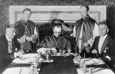 The Concordat between the Vatican and the Nazis Cardinal Secretary of State, Eugenio Pacelli (later to become Pope Pius XII) signs the Concordat between Nazi Germany and the Vatican at a formal ceremony in Rome on 20 July 1933. Nazi Vice-Chancellor Franz von Papen sits at the left, Pacelli in the middle, and the Rudolf Buttmann sits at the right.The Concordat effectively legitimized Hitler and the Nazi government to the eyes of Catholicism, Christianity, and the world.